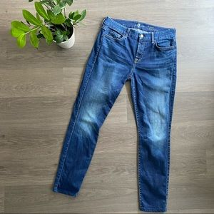 """7 For All Mankind Blue """"The Mid-Rise Skinny"""" Jeans"""